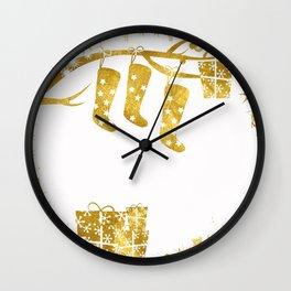 Gold Christmas 02 Wall Clock