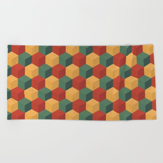 Retro Cubic Beach Towel