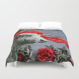 bull's head and red paint Duvet Cover