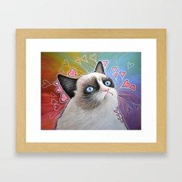 Sad Cat, This is my Happy Face, Tardar Sauce Framed Art Print