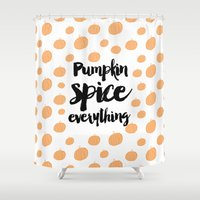pumpkin Shower Curtains featuring Pumpkin Spice - Pumpkin Pattern by Allyson Johnson