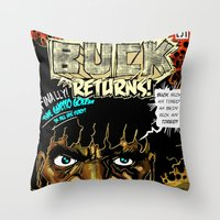 returns Throw Pillows featuring BUCK RETURNS by BlackKirby1
