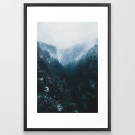 Foggy Forest Mountain Valley - Landscape Photography Framed Art Print