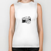 vintage camera Biker Tanks featuring Camera by Dea Brazil