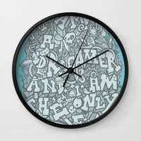 dreamer Wall Clocks featuring Dreamer by Craig Watkins