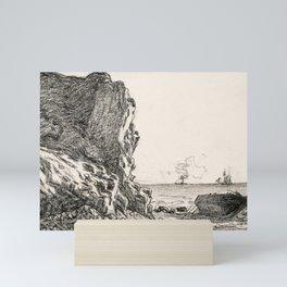 Cliffs and Sea Sainte-Adresse (1864) by Claude Monet high resolution famous painting Mini Art Print