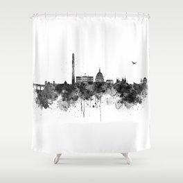 Washington DC Skyline Black and White Shower Curtain