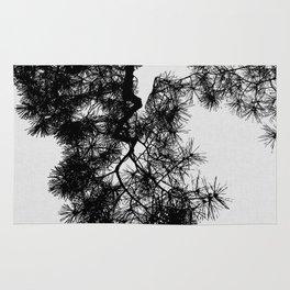 Pine Tree Black & White Rug