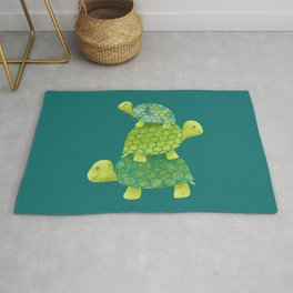 Turtle Stack Family in Teal and Lime Green Rug