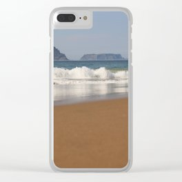 Crescent Bay, looking out to Tasman Island Clear iPhone Case