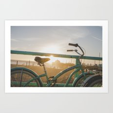Bike & Beach Art Print