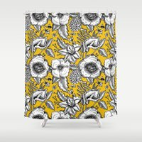yellow pattern Shower Curtains featuring Yellow by AITCH