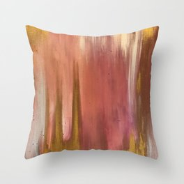 Blush with Gold Abstract Throw Pillow