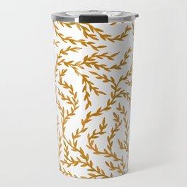 Golden Leaves Watercolor Pattern Travel Mug