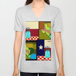 A Texas Quilt, State Flag and Blue Bonnets Unisex V-Neck