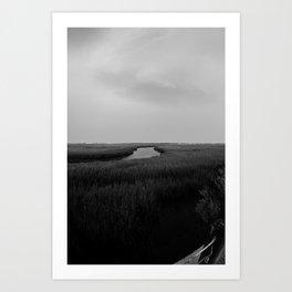 Minimal Brackish Water Black and White Art Print