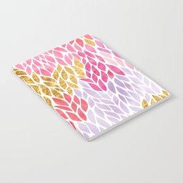Rose Gold Pink Leaf Pattern Geometric Notebook