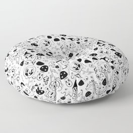 gnomes black and white Floor Pillow