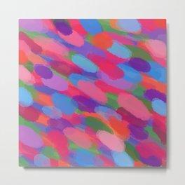 Rainbow Droplets Abstract Art Metal Print