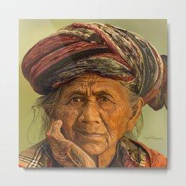Old woman with turban Metal Print