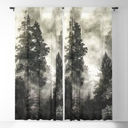 Smoky Redwood Forest Foggy Woods II - Nature Photography Blackout Curtain