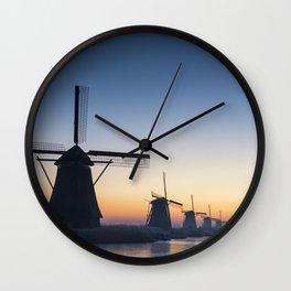 Windmills at Sunrise IV Wall Clock