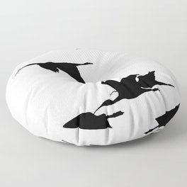 Silhouette of Glossy Ibises In Flight Floor Pillow