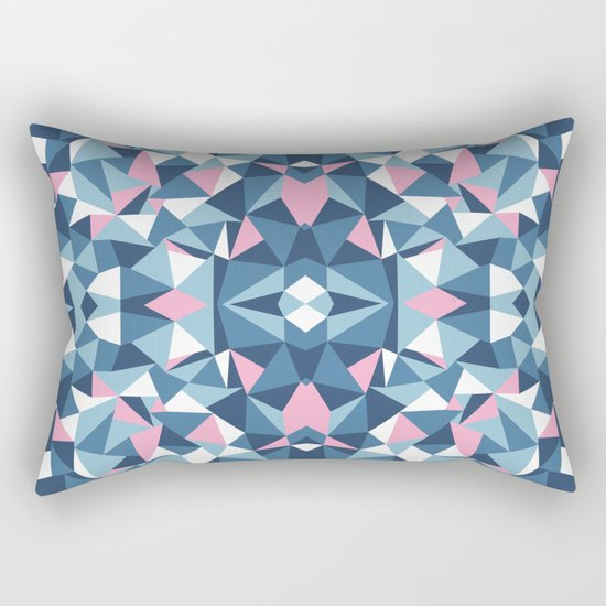 Abstract Collide Blue and Pink Rectangular Pillow
