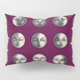 moon phases on dark purple Pillow Sham