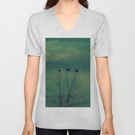 Ravens Come Gathering in a Soft Turquoise Sky Unisex V-Neck