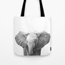 Black and White Baby Elephant Tote Bag