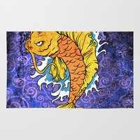 koi fish Area & Throw Rugs featuring Koi Fish by Spooky Dooky