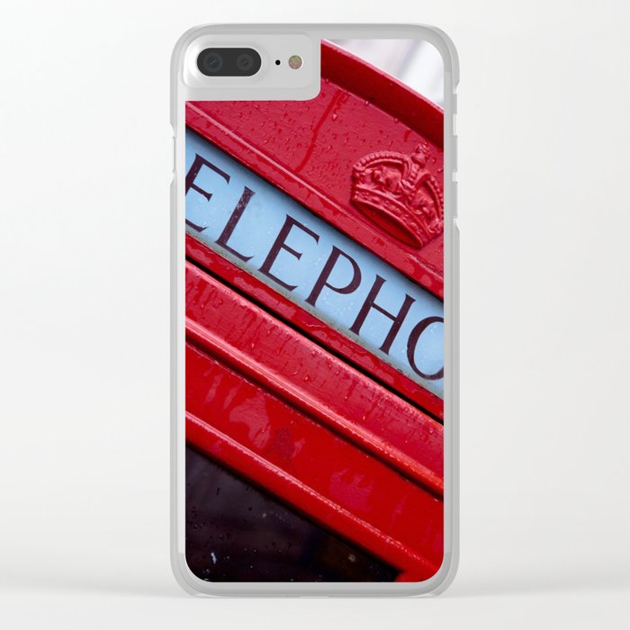 Retro Telephone Booth (#Retro #Telephone) Clear iPhone Case