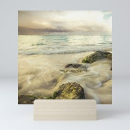 Stormy Sky Waves on Rocky Beach Mini Art Print