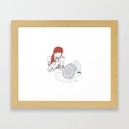 Run snail, RUN ! Framed Art Print