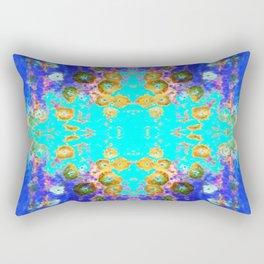 BLUE GARDEN GOLD-PINK  FLOWERS Rectangular Pillow