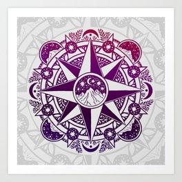 Journey to Moon Mountain | Purple & Magenta Ombré Art Print