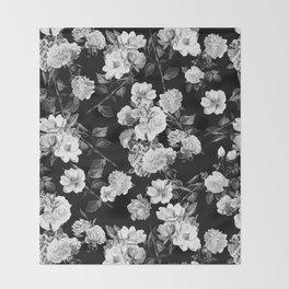 Black and White Botanic Pattern Throw Blanket