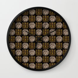 Cute Fluffy Dog Faces and Classic Ornaments Wall Clock