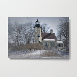 Lighthouse during Winter in Whitehall Michigan Metal Print