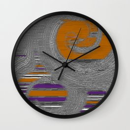 Swirling Abstract In Gray Purple Rust Wall Clock