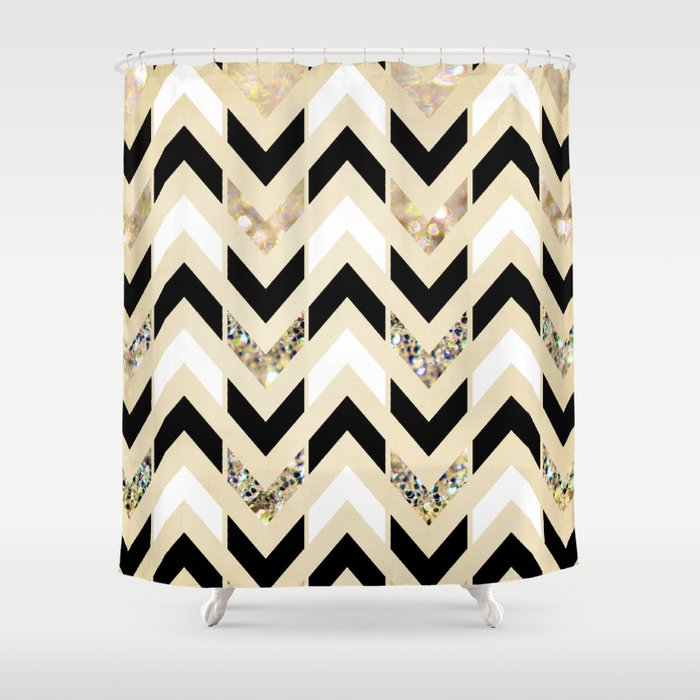 Bon Black, White U0026 Gold Glitter Herringbone Chevron On Nude Cream Shower Curtain