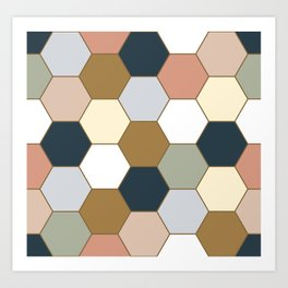 Hexagon seamless pattern. Geometric texture of colorful cell shapes. Art Print