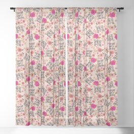 Pretty Sweary: Fresh out of Fucks- Pink Sheer Curtain