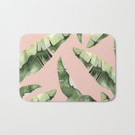 Banana Leaves 2 Green And Pink Bath Mat