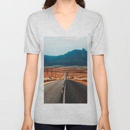 Teal Mountains Highway Unisex V-Neck