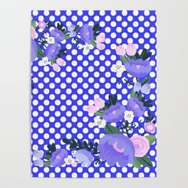 Floral on Pattern Background Poster