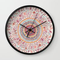 sunflower Wall Clocks featuring Sunflower Mandala by Janet Broxon