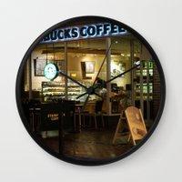 starbucks Wall Clocks featuring Starbucks by Vanessa Antonina