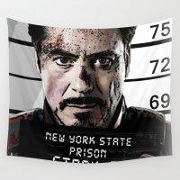 arya stark Wall Tapestries featuring Tony Stark jailed by MkY111